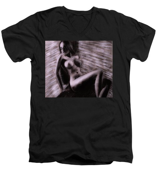 Men's V-Neck T-Shirt featuring the painting Chocolate Maiden by Jarko Aka Lui Grande