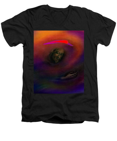 Men's V-Neck T-Shirt featuring the painting Christ by Kevin Middleton