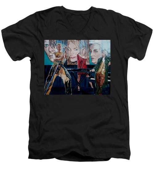 Men's V-Neck T-Shirt featuring the painting Christine Anderson Concert Fantasy by Bryan Bustard