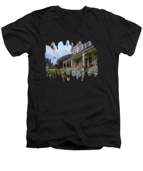 Men's V-Neck T-Shirt featuring the photograph Christmas At Heceta Head by Thom Zehrfeld