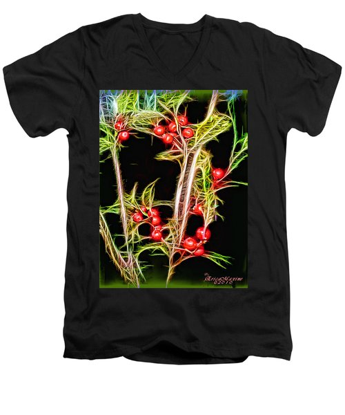 Men's V-Neck T-Shirt featuring the photograph Christmas Berries by EricaMaxine  Price