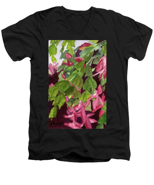 Men's V-Neck T-Shirt featuring the painting Christmas Cactus by Lynne Reichhart