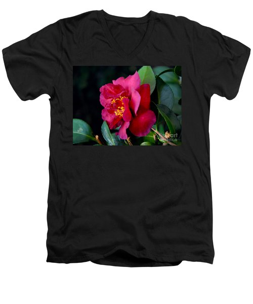 Christmas Camellia Men's V-Neck T-Shirt by Marie Hicks