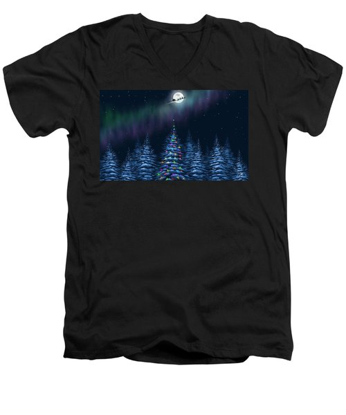 Men's V-Neck T-Shirt featuring the painting Christmas Eve by Veronica Minozzi