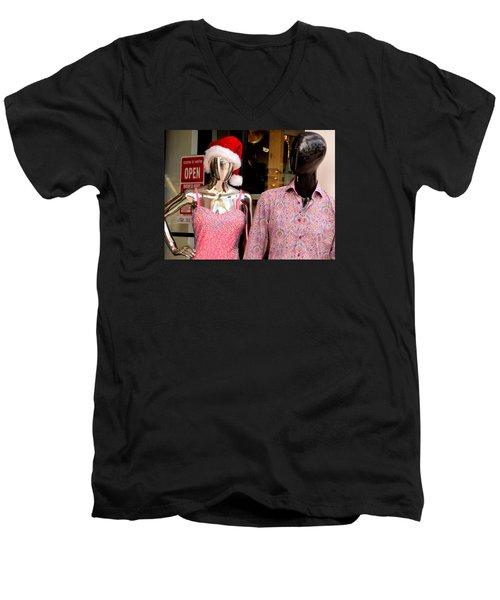 Christmas In Miami Beach Men's V-Neck T-Shirt by David Gilbert