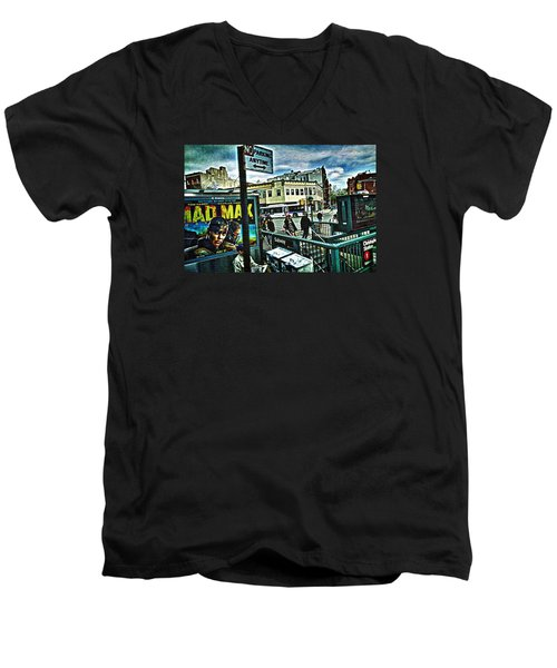 Christopher Street Greenwich Village  Men's V-Neck T-Shirt by Joan Reese