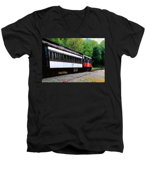 Men's V-Neck T-Shirt featuring the photograph Chugging Along by RC DeWinter
