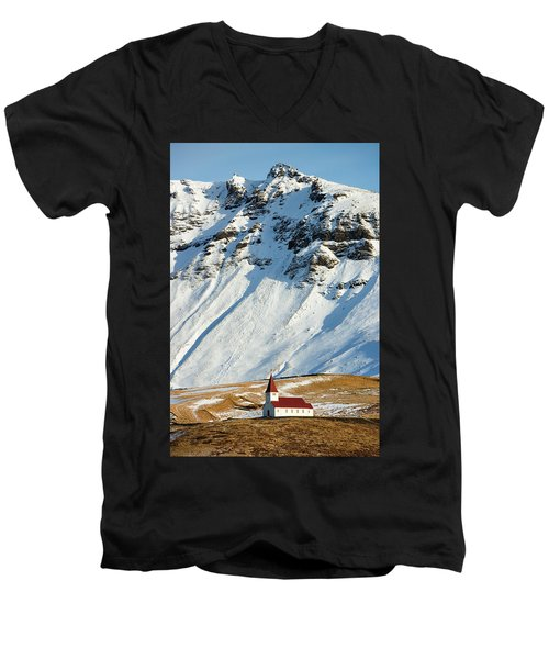 Men's V-Neck T-Shirt featuring the photograph Church And Mountains In Winter Vik Iceland by Matthias Hauser