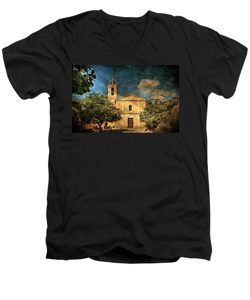 Church In Peillon Men's V-Neck T-Shirt