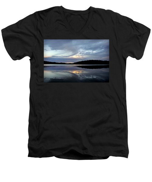 Men's V-Neck T-Shirt featuring the photograph Churning Clouds At Sunrise by Chris Berry
