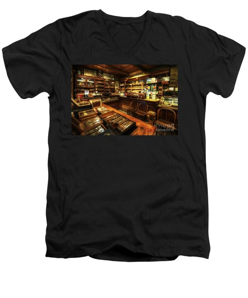 Cigar Shop Men's V-Neck T-Shirt by Yhun Suarez