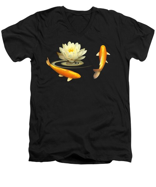 Circle Of Life - Koi Carp With Water Lily Men's V-Neck T-Shirt by Gill Billington