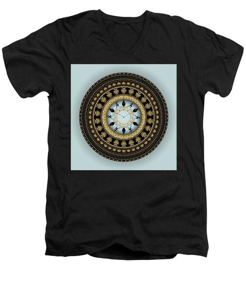 Men's V-Neck T-Shirt featuring the digital art Circularium No 2658 by Alan Bennington