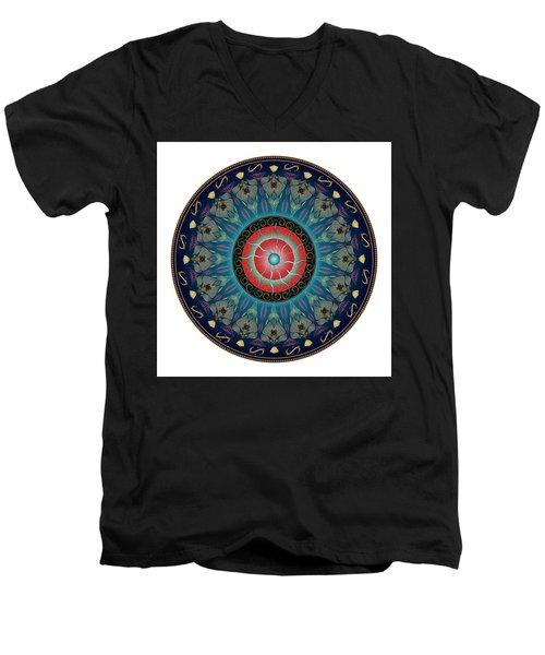 Men's V-Neck T-Shirt featuring the digital art Circularium No 2661 by Alan Bennington