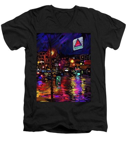 Citgo Sign, Boston Men's V-Neck T-Shirt by DC Langer