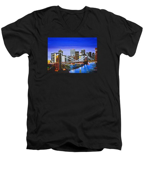 City At Twilight Men's V-Neck T-Shirt by Donna Blossom