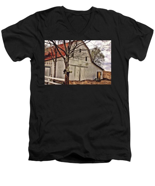 Men's V-Neck T-Shirt featuring the photograph City Barn by Joan Bertucci