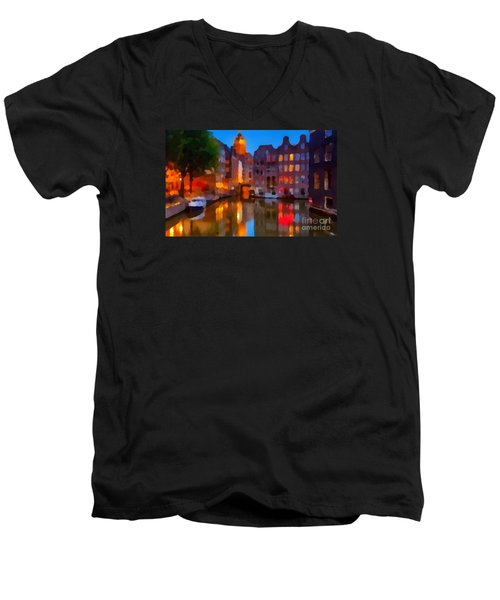 City Block 900 Soft And Dreamy In Thick Paint Men's V-Neck T-Shirt