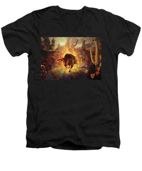 City Bull City Men's V-Neck T-Shirt