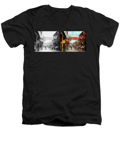 Men's V-Neck T-Shirt featuring the photograph City - Coney Island Ny - Bowery Beer 1903 - Side By Side by Mike Savad