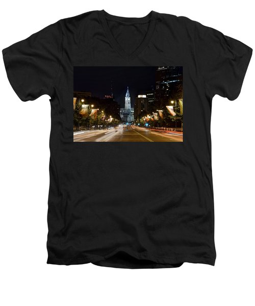 City Hall From The Parkway Men's V-Neck T-Shirt