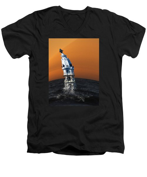 City Hall Melt Men's V-Neck T-Shirt by Christopher Woods