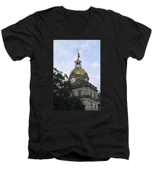 Men's V-Neck T-Shirt featuring the photograph City Hall Savannah by Judy Wolinsky