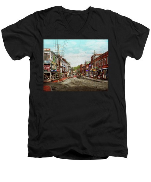 Men's V-Neck T-Shirt featuring the photograph City - Ma Glouster - A Little Bit Of Everything 1910 by Mike Savad