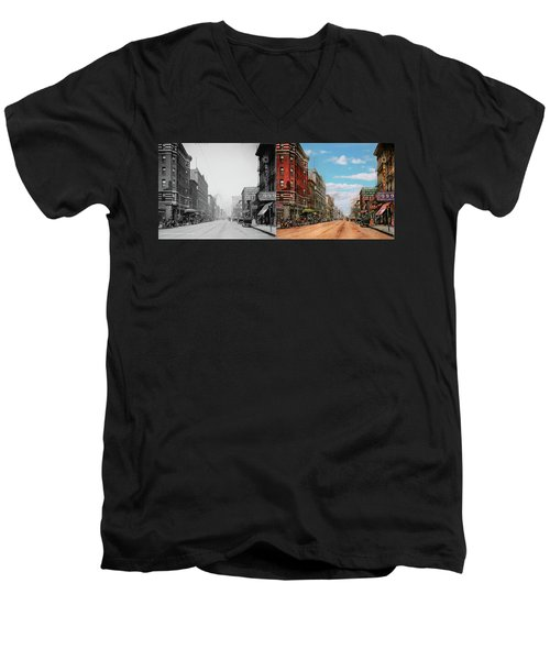 Men's V-Neck T-Shirt featuring the photograph City - Memphis Tn - Main Street Mall 1909 - Side By Side by Mike Savad
