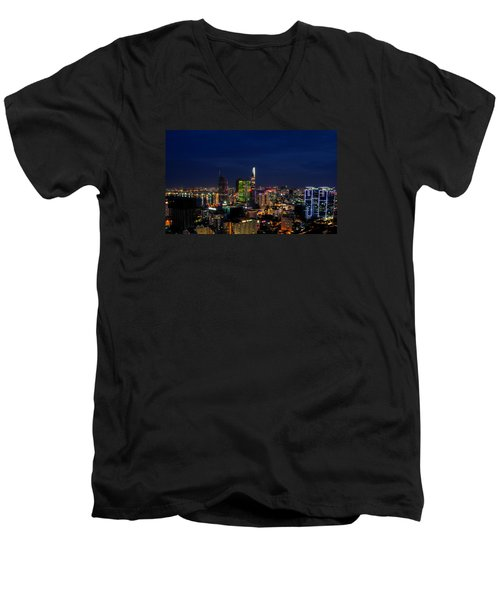 City Night Men's V-Neck T-Shirt