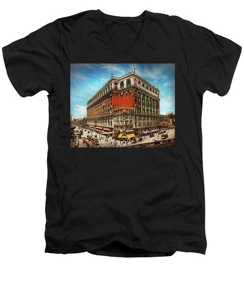 Men's V-Neck T-Shirt featuring the photograph City - Ny New York - The Nation's Largest Dept Store 1908 by Mike Savad