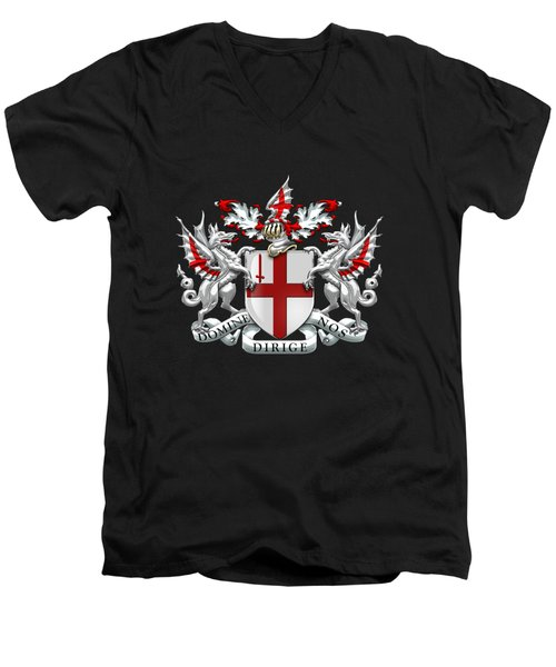 City Of London - Coat Of Arms Over Blue Leather  Men's V-Neck T-Shirt