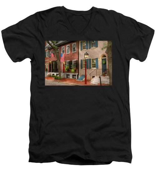 Men's V-Neck T-Shirt featuring the photograph City - Pa Philadelphia - American Townhouse by Mike Savad