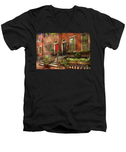 Men's V-Neck T-Shirt featuring the photograph City - Pa Philadelphia - Pretty Philadelphia by Mike Savad