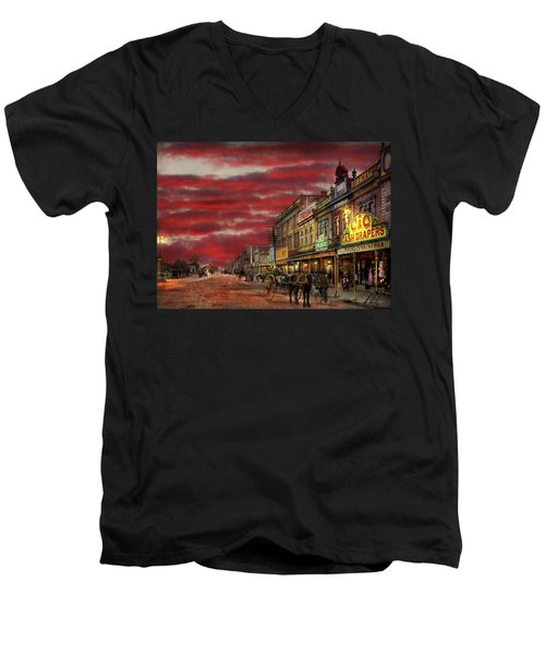 Men's V-Neck T-Shirt featuring the photograph City - Palmerston North Nz - The Shopping District 1908 by Mike Savad