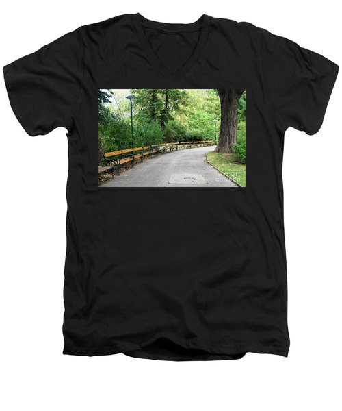 City Park, Vienna Men's V-Neck T-Shirt by Christian Slanec