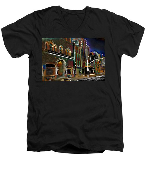 Men's V-Neck T-Shirt featuring the photograph City Scene by EricaMaxine  Price