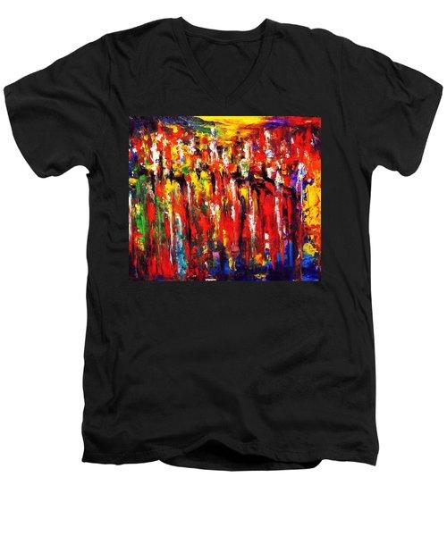 City. Series Colorscapes. Men's V-Neck T-Shirt by Helen Kagan