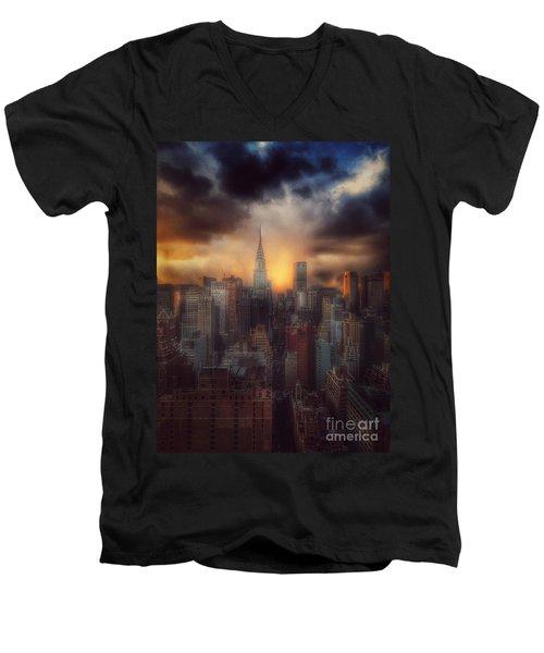 City Splendor - Sunset In New York Men's V-Neck T-Shirt by Miriam Danar