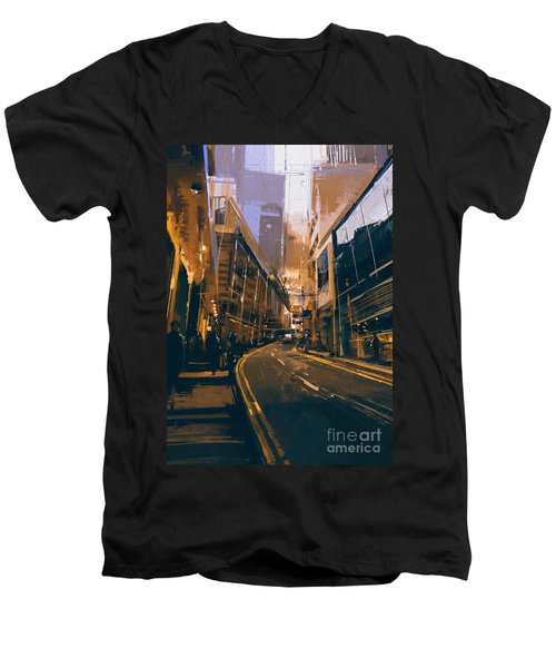 City Street Men's V-Neck T-Shirt