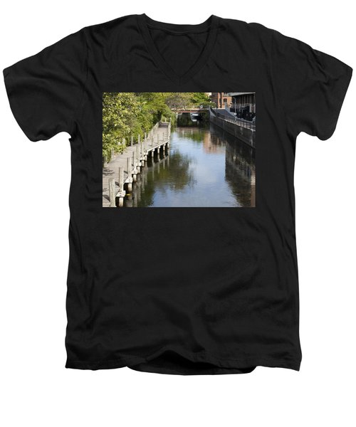 City Waterway Men's V-Neck T-Shirt by Tara Lynn