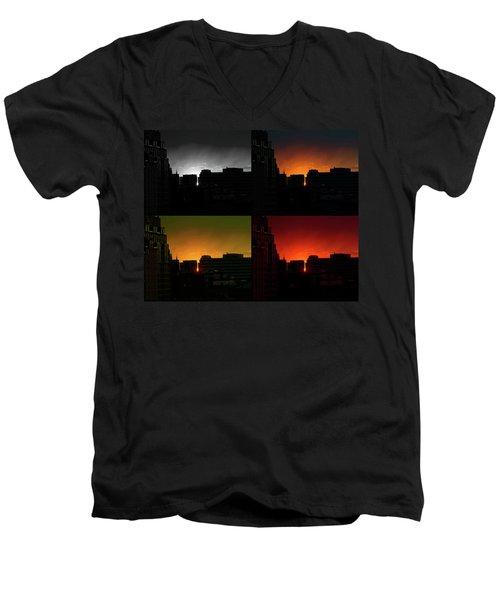 Cityscape Sunset Men's V-Neck T-Shirt