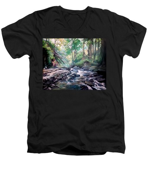 Men's V-Neck T-Shirt featuring the painting Clare Glens ,co Tipparay Ireland by Paul Weerasekera