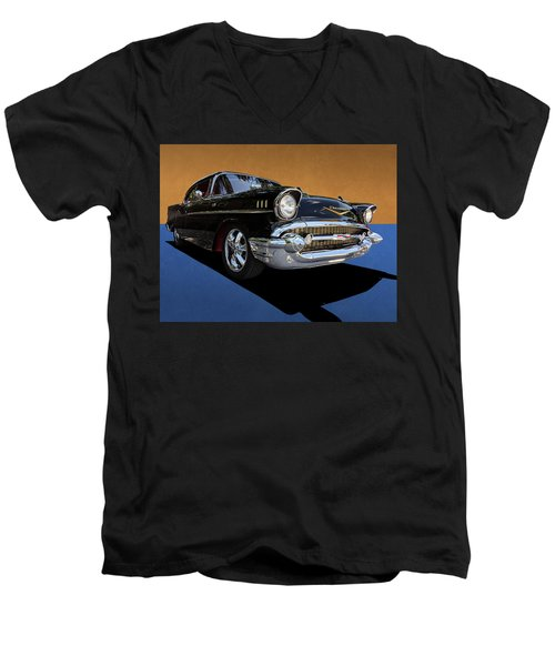 Classic Black Chevy Bel Air With Gold Trim Men's V-Neck T-Shirt