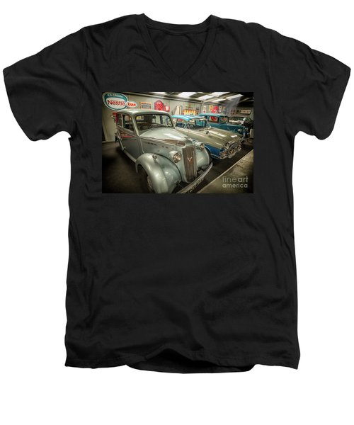 Men's V-Neck T-Shirt featuring the photograph Classic Car Memorabilia by Adrian Evans