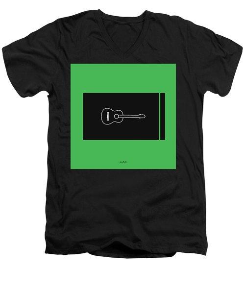Classical Guitar In Green Men's V-Neck T-Shirt by David Bridburg