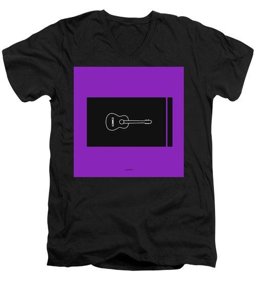 Classical Guitar In Purple Men's V-Neck T-Shirt by David Bridburg