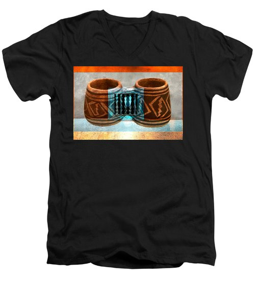 Men's V-Neck T-Shirt featuring the digital art Classsic Designs Of The Southwest by David Lee Thompson
