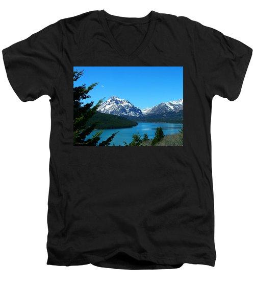 Clear Blue Lower Two Med Lake Men's V-Neck T-Shirt