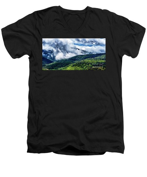 Men's V-Neck T-Shirt featuring the photograph Clearing Storm Highland Scenic Highway by Thomas R Fletcher